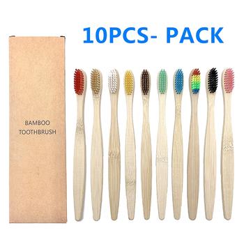 10 sztuk kolorowy naturalny bambus zestaw szczoteczek do zębów miękkie włosie węgiel wybielanie zębów bambusowe szczoteczki do zębów miękkie Dental pielęgnacja jamy ustnej tanie i dobre opinie CN (pochodzenie) COMBO Bamboo Toothbrush dla dorosłych Szczoteczka do zębów 17 5 cm 1007 Adults purple blue Coffee Rainbow beige