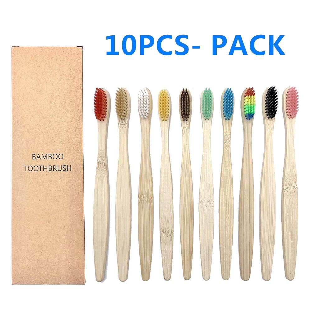 10 шт., бамбуковые зубные щётки для отбеливания зубов