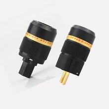 をビボル × ハイファイオーディオ純銅 24 18kゴールドプレートeuの電源ケーブル拡張コネクタプラグアダプタ 1 ペア