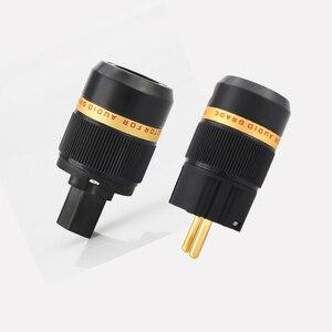 Image 1 - Viborg X Hifi audio Reinem kupfer 24K Gold überzogene EU power kabel Verlängerung stecker stecker adapter 1 paar