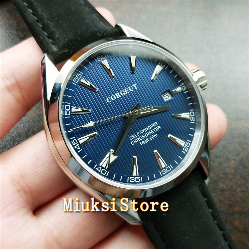 Corgeut 41mm sapphire crystal luminous leather strap Seagull automatic movement mens top fashion mechanical watche