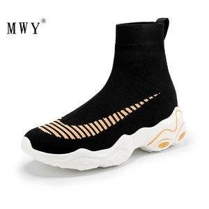 Image 4 - MWY Breathable Elasticity Socks Sneakers Platform Unisex Footwear Casual Shoes Flats Women Ankle Boot Dames Schoenen