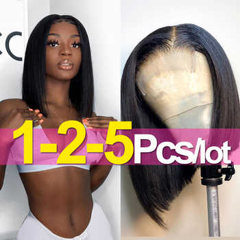 4x4 Lace Closure Bob Wig Straight 100% Human Hair Wigs Swiss Lace Frontal Wig Middle Part Bulk Sale Jarin Hair Remy - DISCOUNT ITEM  45 OFF Hair Extensions & Wigs