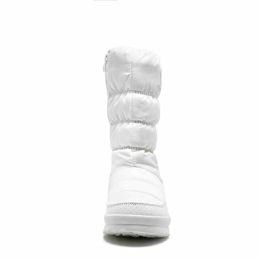 ESVEVA 2020 kış sıcak kürk fermuar kar botları platformu PU deri aşağı orta buzağı çizmeler takozlar yuvarlak ayak kadın ayakkabı boyutu 36-41