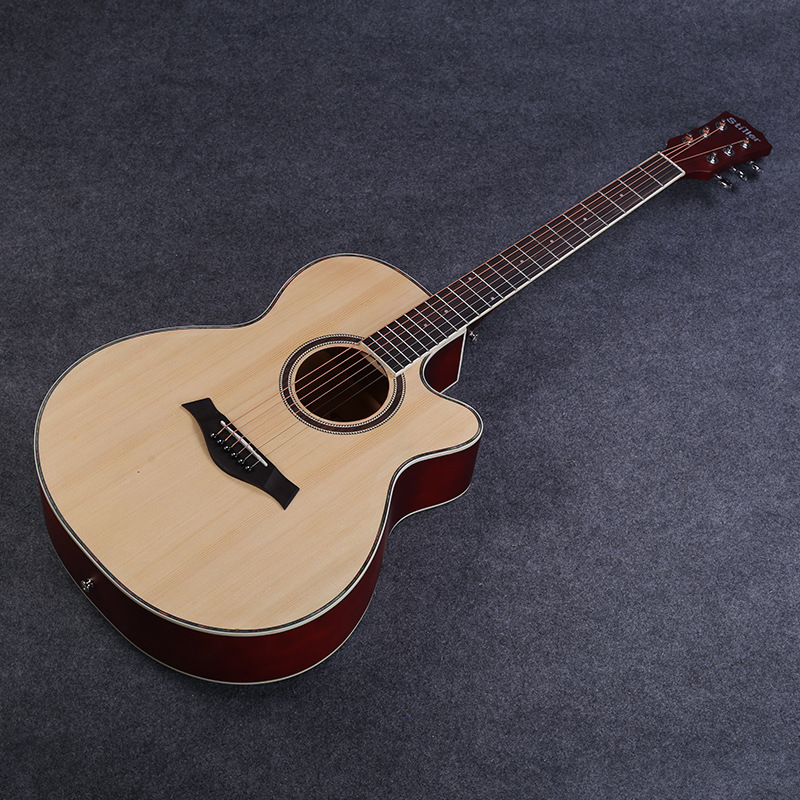 Customizable OEM 40-Inch Mid-Range Matte Spruce Basswood Guitar Folk Music Cutaway Guitar Factory Direct Selling