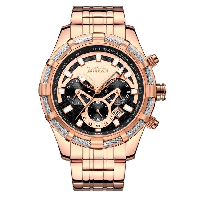 BIDEN font b Men s b font Watches Top Brand Quartz Wristwatch Luxury rose Watch Waterproof