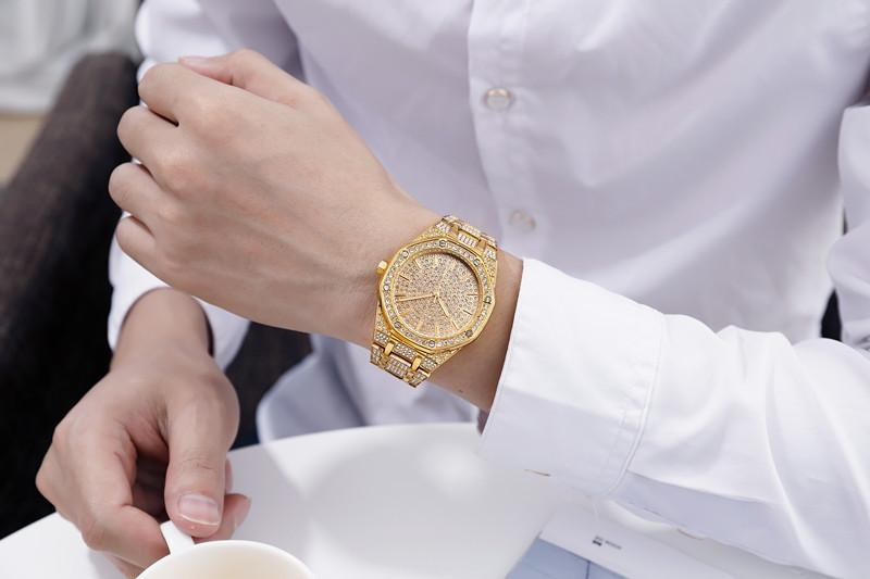 Часы наручные мужские с золотистыми блестками модные роскошные