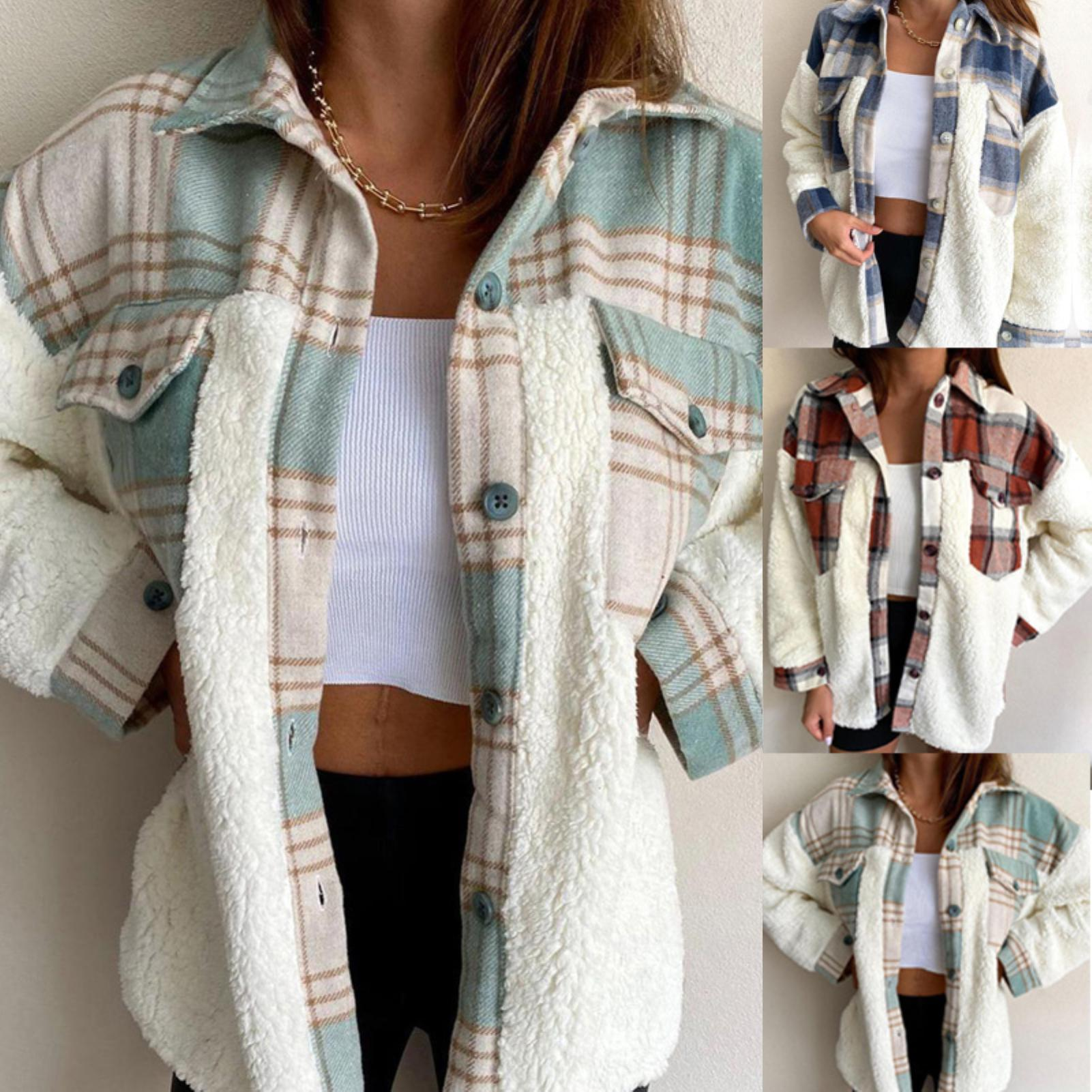 women Ladies Plaid Patchwork Buttons Coat Womens Winter Autumn Warm Thick Plush Pockets Jacket Overcoat Coat chaquetas mujer