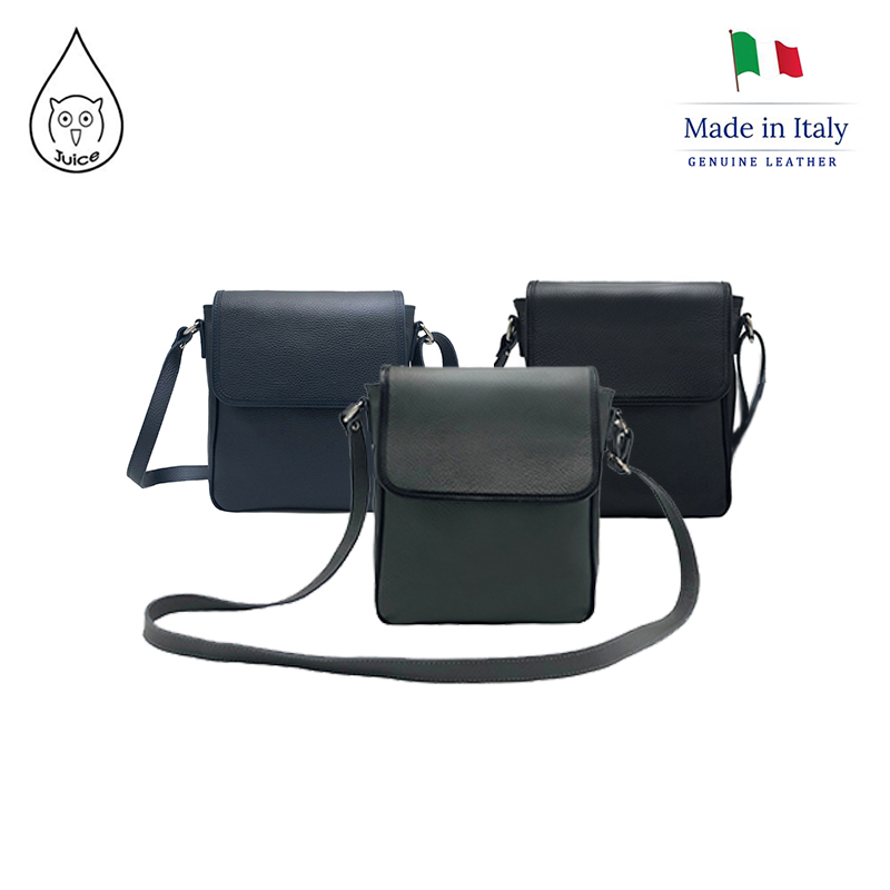 Juice Brand, Genuine Leather Italian Cowhide Men Carry Medium Bags Across Their Shoulders, Made In Italy,  112160