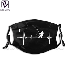 Fishing Mouth Face Mask Fishing Heartbeat Facial Mask Funny Fashion with 2 Filters for Adult