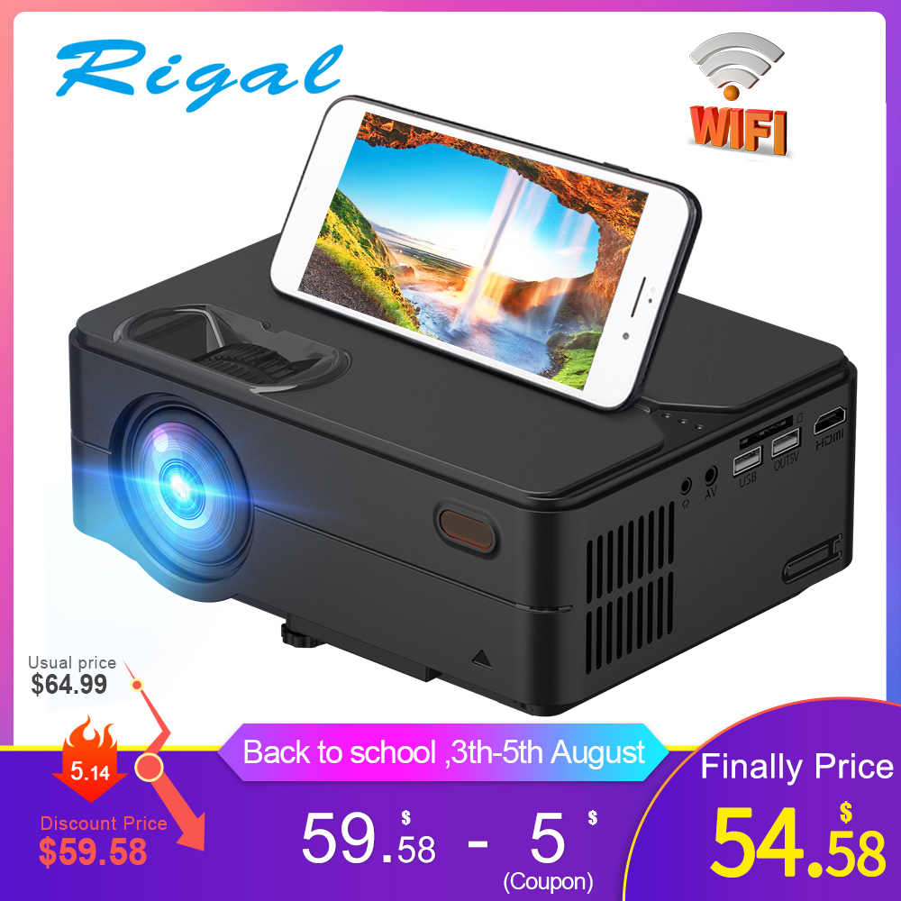 Rigal RD813 Mini Proyektor 1280X720P WiFi Multi Layar Proyektor Home Theater Projector 3D Film HD Proyektor Dukungan 1080P