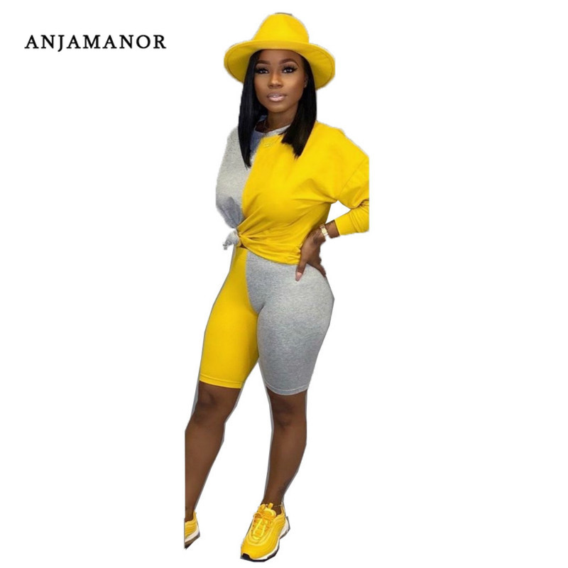 ANJAMANOR Sexy Tracksuit Women Matching Sets Two Piece Set Top And Pants Sweatsuit Fall Winter Outfits Loungewear D58-AD71