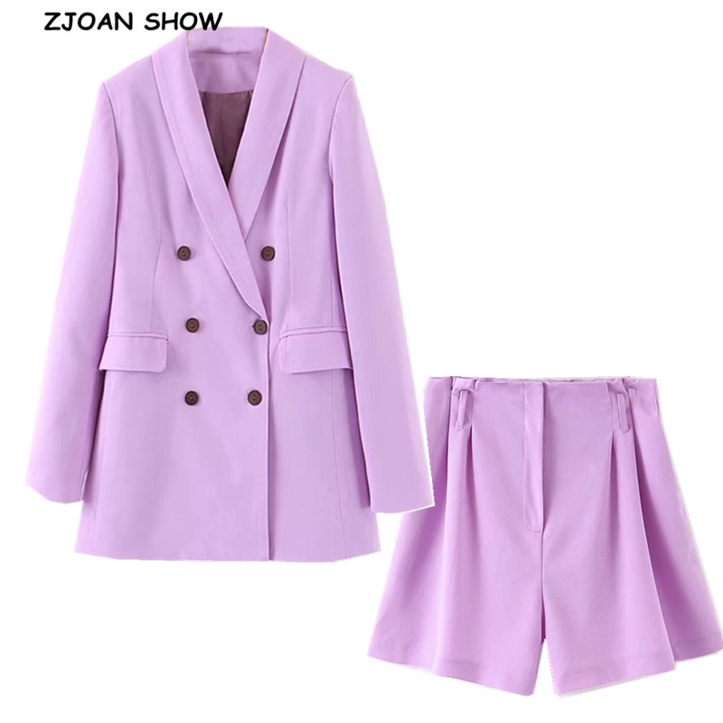 2019 Boyfriend Style Double-breasted Mid Long Women Blazer High Waist Loose Shorts Short Pants Long Sleeve Suits 2 Pieces Set