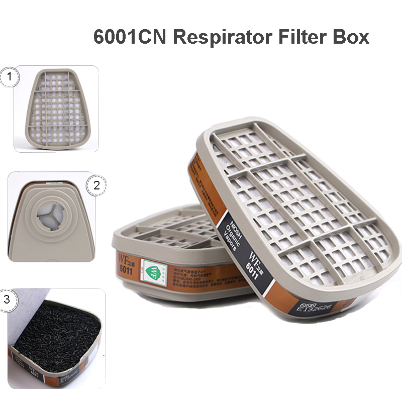 Gas Mask Replaceable 2pcs/set  Filtering Cartridge Box For 6200/7502/6800/6011 Mask Chemical Respirator Painting