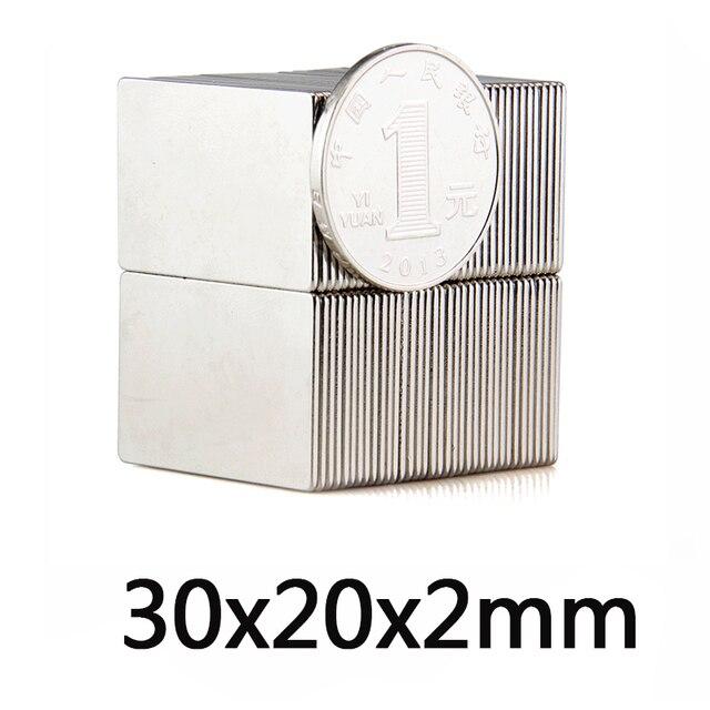 10 Вт, 30 Вт, 50 шт в наборе супер сильный блок 30x20x2 мм N35 мощный профессиональный Неодимовый Магниты редкоземельные Сильный редкоземельных магн...
