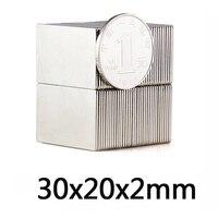 10 Вт, 30 Вт, 50 шт. очень крепкий блок 30x20x2 мм N35 Мощные Неодимовые Магниты редкоземельные сильный редкоземельные элементы NdFeB 30*20*2 мм