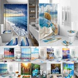 Ven Biển Bãi Biển Cảnh In Hoa Văn Màn Tắm Bệ Thảm Nắp Nắp Vệ Sinh Thảm Nhà Tắm Bộ Nhà Tắm Rèm Cửa Có Móc Treo