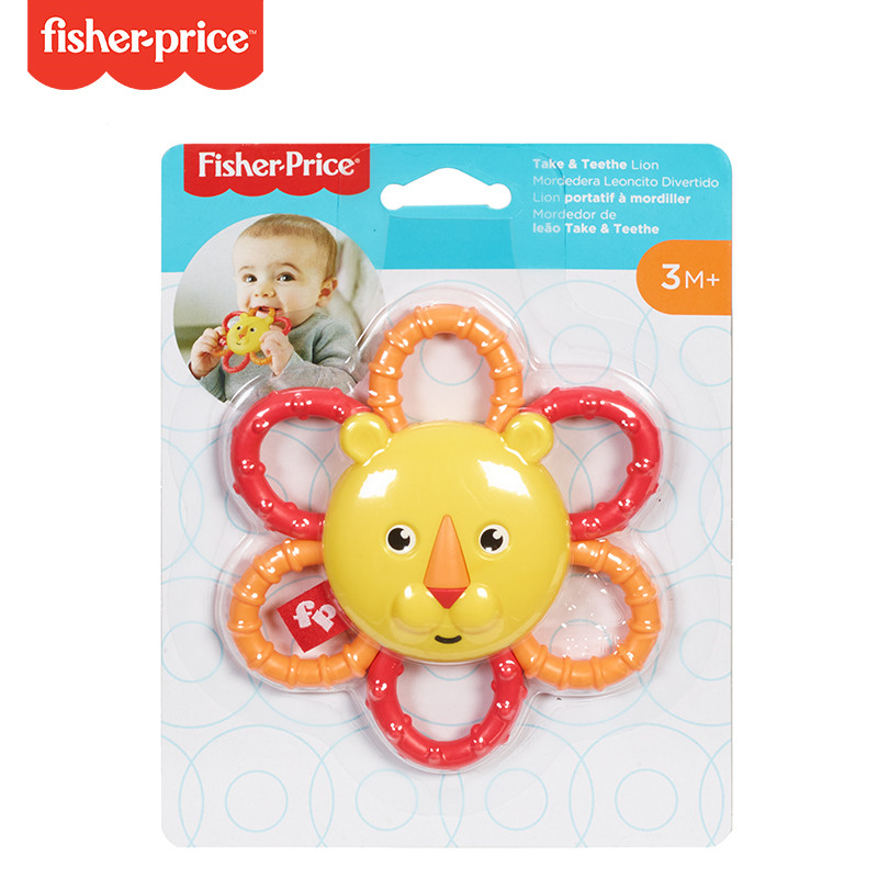 Fisher-Price Teether Tunes Lion Animal-Themed Teething Toy for Baby Ages 3 Months and Older Baby Grasp Toys