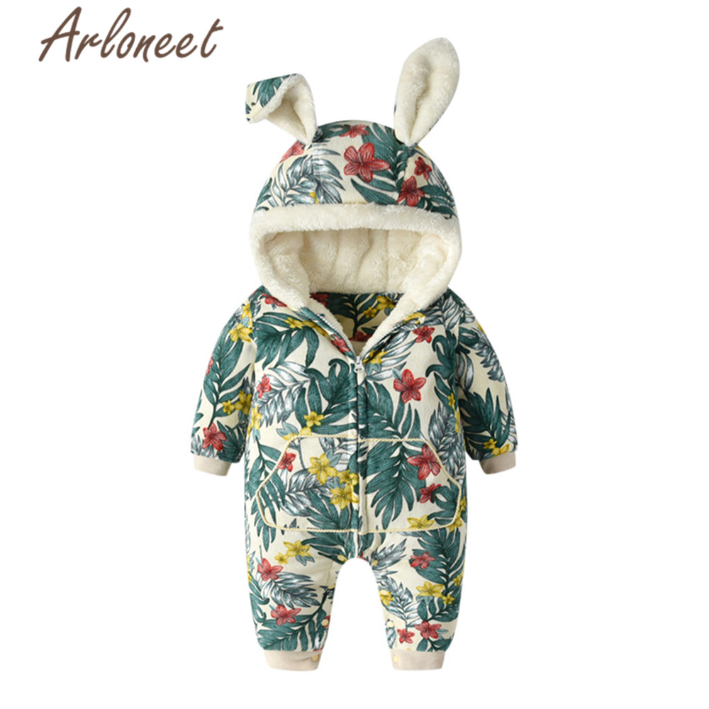 ARLONEET Coat Jumpsuit Bunny Romper Baby Winter Outerwear Cotton Cartoon Hooded Zipper title=