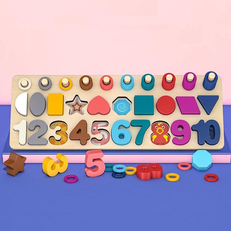 Enfants 3in1 jouets mathématiques jouets éducatifs Multi fonction logarithmique conseil Montessori jouets éducatifs en bois pour enfants cadeaux