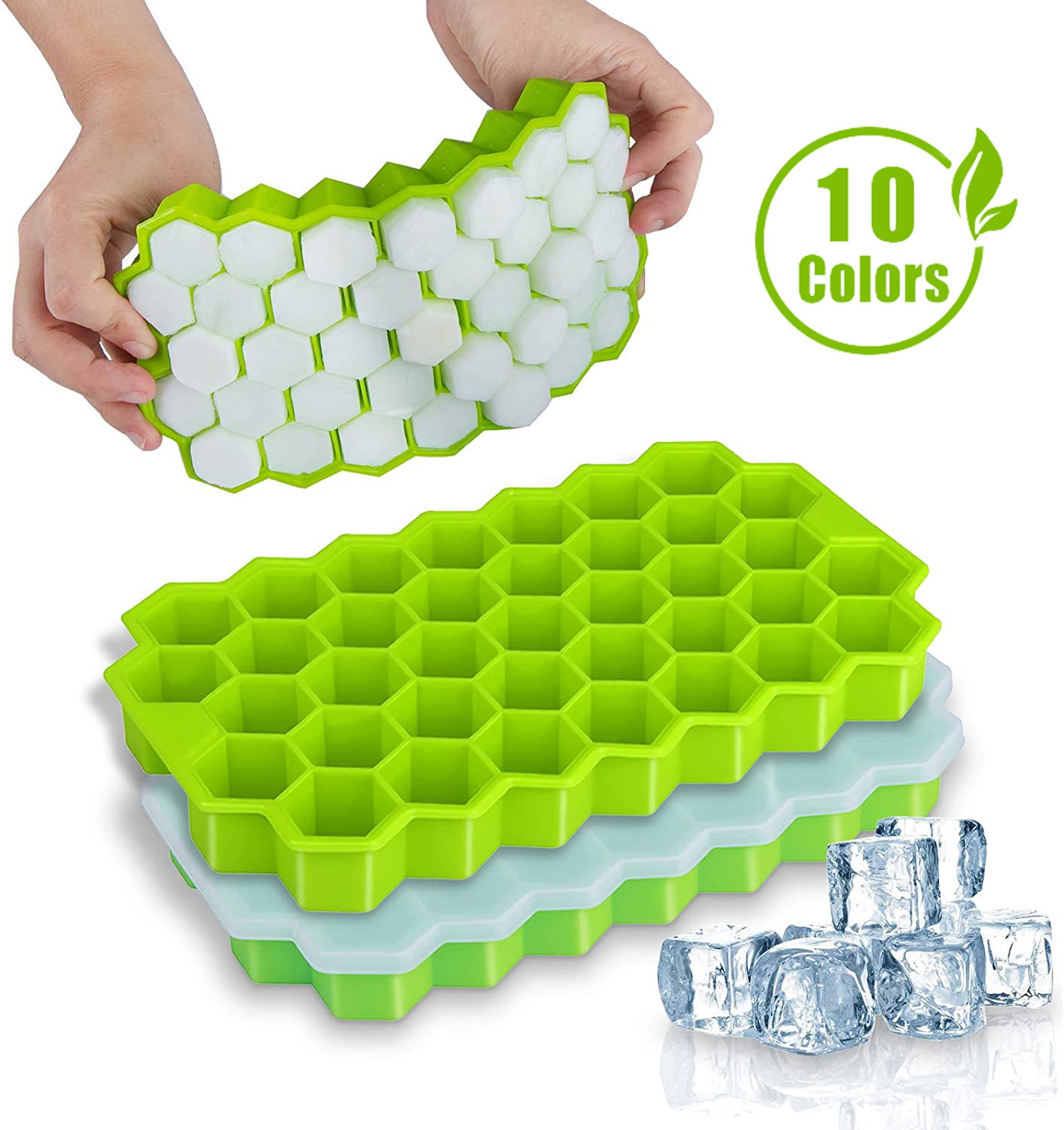 SILIKOLOVE Honeycomb Ice Cube Trays Reusable Silicone Ice cube Mold BPA Free Ice maker with Removable Lids