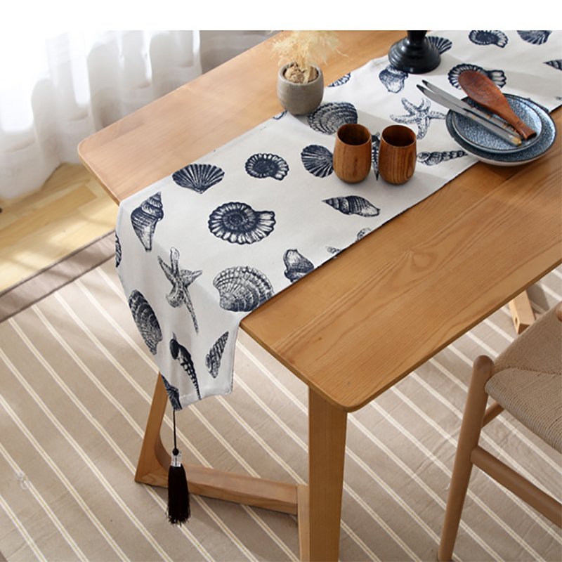Japanese Style Modern Table Runner Marine Shell Print Table Cloth Flag Cabinet Cover Hotel Bed Runner Party Home Decoration