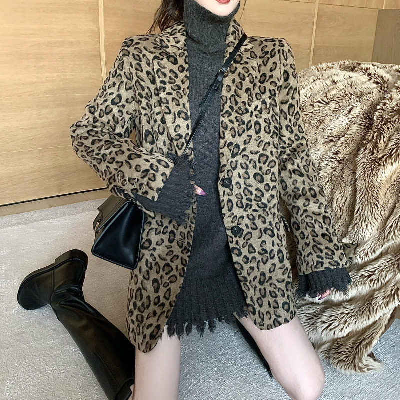 Leopard Print Ladies Blazer Retro Loose Casual Suit Jacket Long Sleeve High Street Stylish Party Spring Women's Clothing MM60NXZ