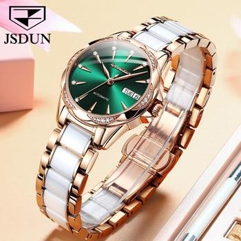 JSDUN Women Mechanical Watch Rose Gold Stainless Steel Ceramics Strap Dress Watches Fashion Luxury Brand Women's Automatic Watch 2