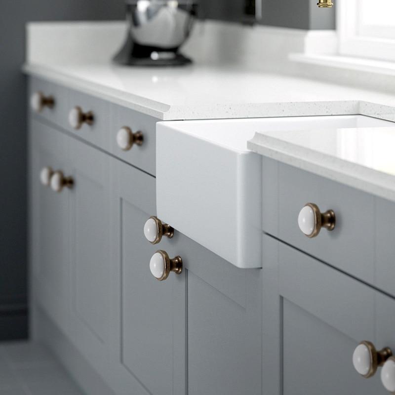 White Ceramic Door Handles European