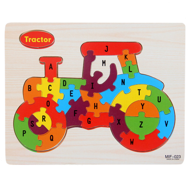 Kids Intelligence Baby Toy Wood Puzzles Cognition English Letter Building Wooden Animal Jigsaw Puzzle Toys for Children Toddler 4