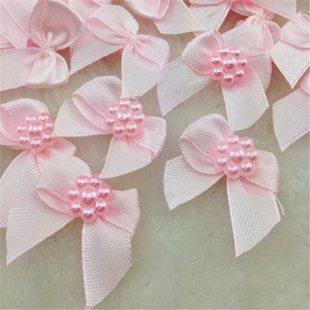 Wholesale 50PCS Mini Satin Ribbon Flowers Bows Gift Craft Wedding Decoration Set