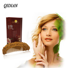 QIDIAN  Exquisite Multi Style Thuja Hair Wood Comb Natural Carving Anti-static Wood Hair Comb Set Pair- Vintage China Artwo multi shaped hair comb set 10pcs
