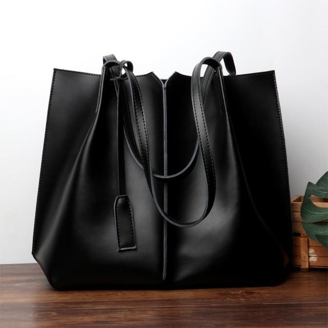 Genuine leather tote ladies bag