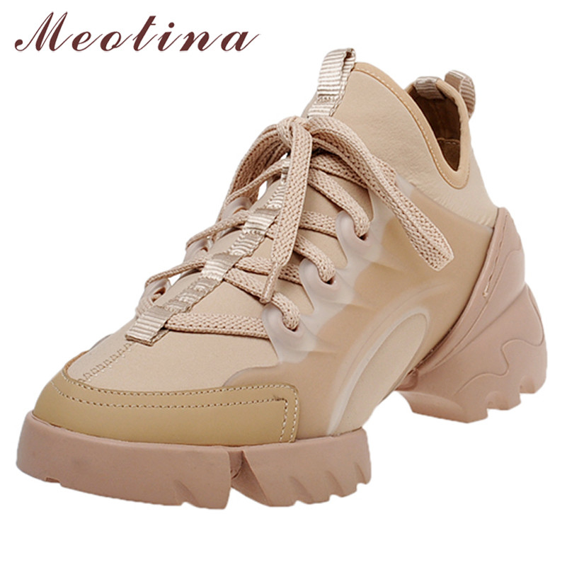 Meotina Autumn Flats Sneakers Shoes Women High Quality Flat Platform Casual Shoes Lace Up Round Toe Shoes Lady White Size 34-40