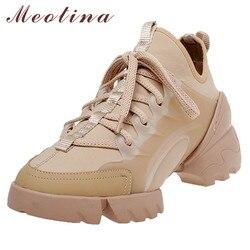 Meotina otoño Flats Sneakers zapatos mujer plataforma plana de alta calidad zapatos casuales con cordones de punta redonda Zapatos mujer blanco tamaño 34-40