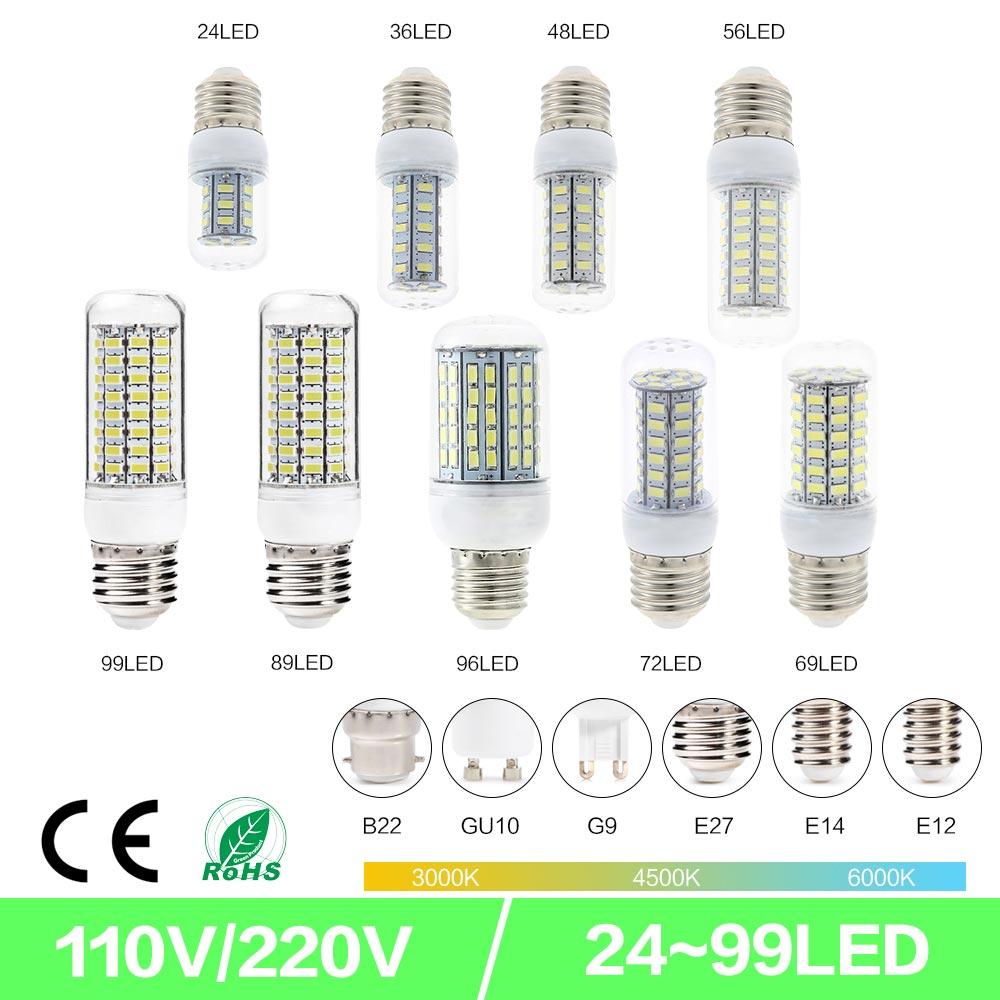 SMD5730 LED Corn Light E27 GU10 B22 E14 G9 LED Light 7W 12W 15W 18W 360 Degree Lighting LED Bulb 110V 220V