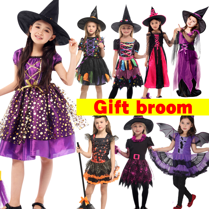 Free Shipping Halloween Fancy Fantasia Infant Witch Cosplay Costumes For Children Kids Witch Costume For Girls Witch Bat Clothes