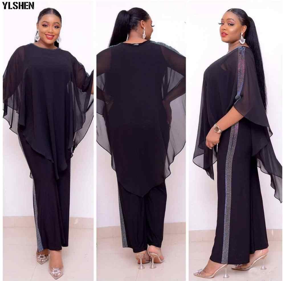 Châu Phi Jumpsuit Bộ Váy Đầm Cho Nữ Đính Hạt Cườm Châu Phi Quần Áo Mới Dashiki Thun Bazin Quần Baggy Áo Nổi Tiếng Phù Hợp Cho Nữ