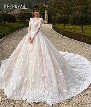 Vestido De Novia หรูหราลูกไม้ชุดยาว 2020 Gorgeous Scoop Robe De Mariee PLUS ขนาด Chaple รถไฟงานแต่งงานชุด