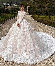 Vestido De Novia 럭셔리 레이스 웨딩 드레스 2020 긴 소매 화려한 스쿠프 로브 드 Mariee 플러스 크기 Chaple 기차 웨딩 드레스