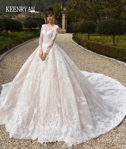 Image 1 - Vestido De Novia Luxury Lace Wedding Dress 2020 Long Sleeve Gorgeous Scoop Robe De Mariee Plus Size Chaple Train Wedding Gowns
