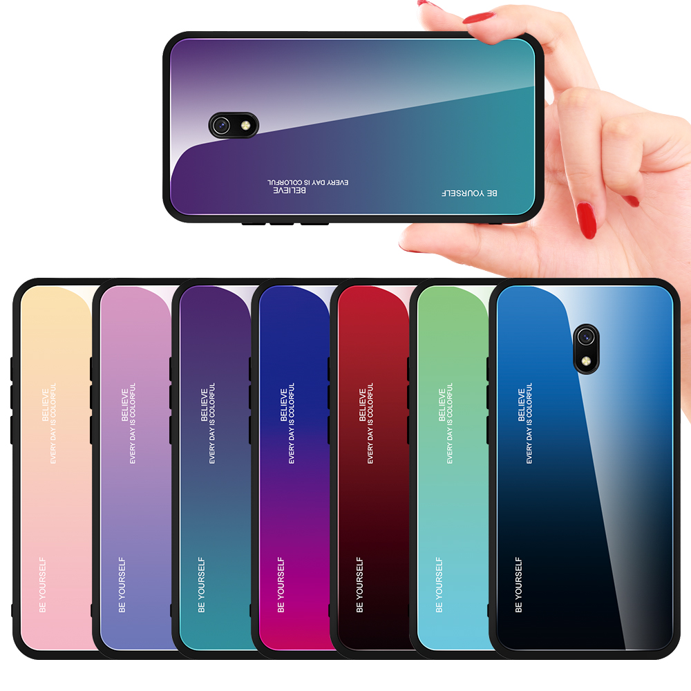 Gradient Tempered Glass Phone Case For Xiaomi Redmi 8A 8 7A 6A Capa Coque Redmi 8 7 6 Redmi8 8A Hard Glass Case Back Cover