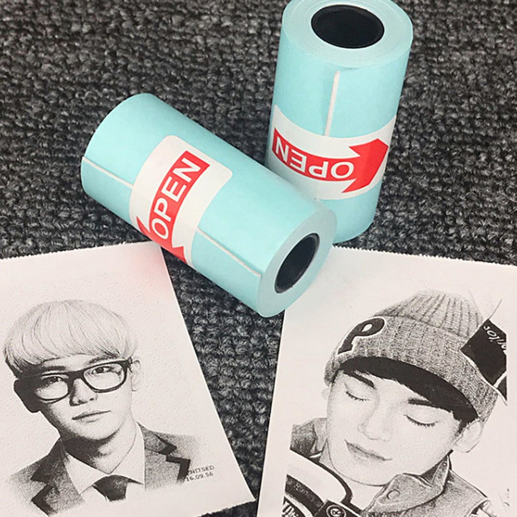 SODIAL 3 Rolls Printing Sticker Paper Photo Paper for Mini Pocket Photo Printer Paperang P1 P2 Bill Receipt Papers
