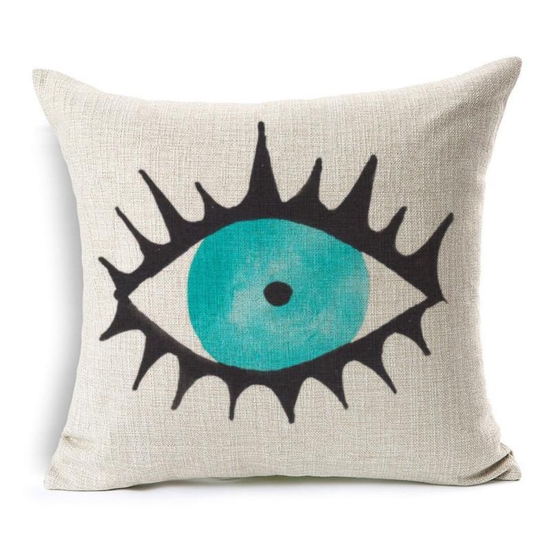 Watercolor Painting Evil Eye Cushion Covers Muslim Islam Hamsa Hand Cushion Cover Decorative Linen Pillow Case New