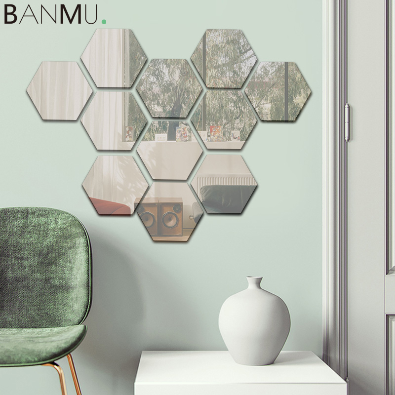 12pcs Removable Reflective Hexagon Mirror Wall Stickers Espejos Mirrors Wall Decor Decals For Living Room House Home Decoration