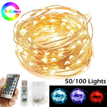 16 Colors Copper Wire LED String Lights 5M 10M Waterproof 28 Keys Remote Control Fairy String Light USB/Battery Holiday Lighting usb 10m 8 modes 100 led string light christmas waterproof copper wire led string fairy light battery powered remote control