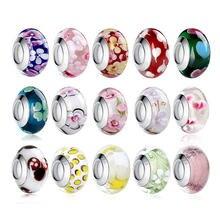 1 PC BAMOER Großhandel Silber Farbe Leucht Europäischen Braun Murano Glas Perlen fit Armband Frauen Mode Schmuck PA6366