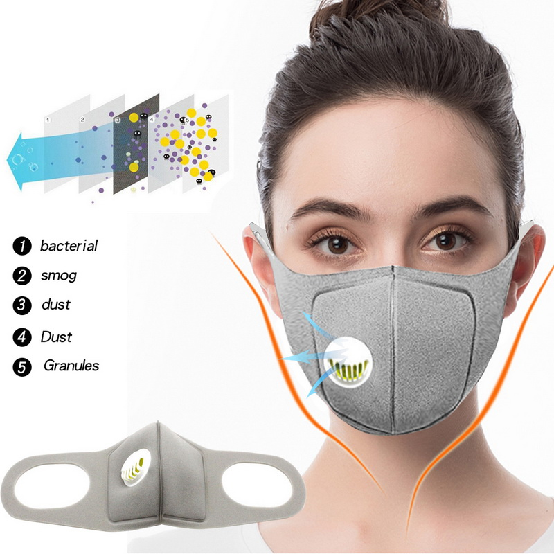 Men Anti Dust Mask Anti PM2.5 Pollution Face Mouth Respirator Black Breathable Valve Mask Filter 3D Mouth Cover Anti-Coronavirus
