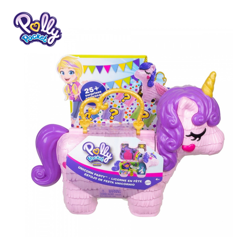 Polly Pocket Surprise Unicorn Blind Box Unicorn Party Large Toy set 25+ Surprises & Fun Princess Party Play Areas Toys GKL24