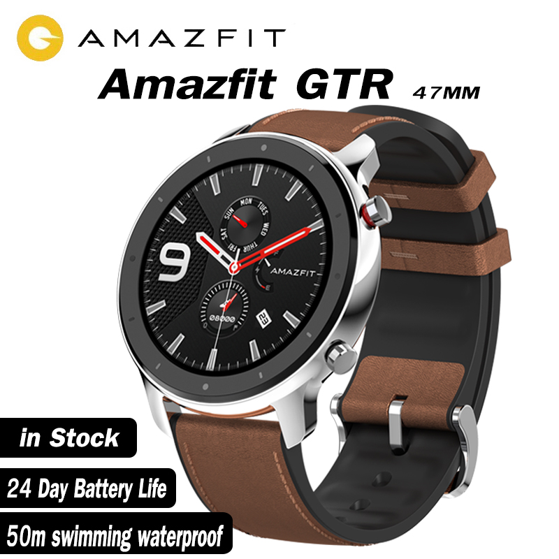 Global version xiaomi huami amazfit gtr 47mm smart watch AMOLED Screen 24 Day battery life GPS watch 50ATM waterproof Swimming